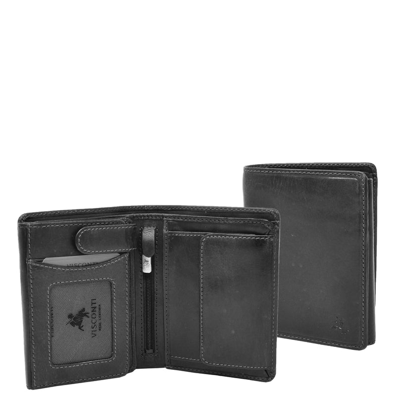 Mens RFID BiFold Leather Wallet Taunton Black 1