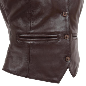 Womens Leather Classic Buttoned Waistcoat Rita Brown 6