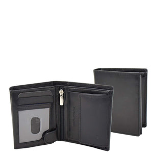 Mens Soft Leather Small Bifold Wallet Brisbane Black