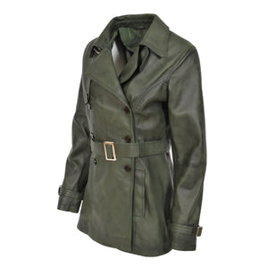 classic real leather half length green coat