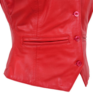 Womens Leather Classic Buttoned Waistcoat Rita Red 6