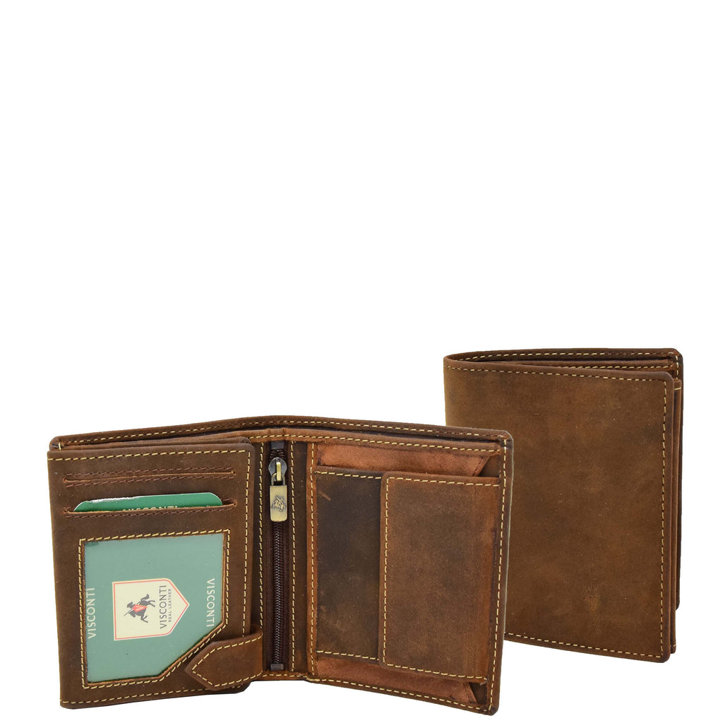 Mens Bifold Vintage Leather Wallet Vienna Tan