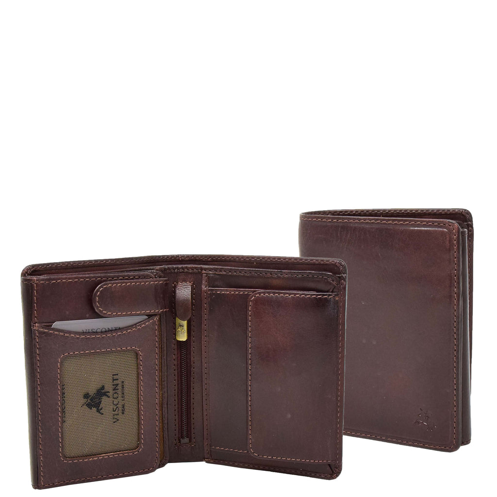Mens RFID BiFold Leather Wallet Taunton Brown