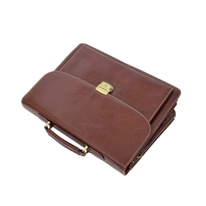 Mens Faux Leather Flap Over Briefcase Windsor Brown 4
