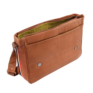 Mens Leather Flap Over Messenger Bag Cheriton Tan 5