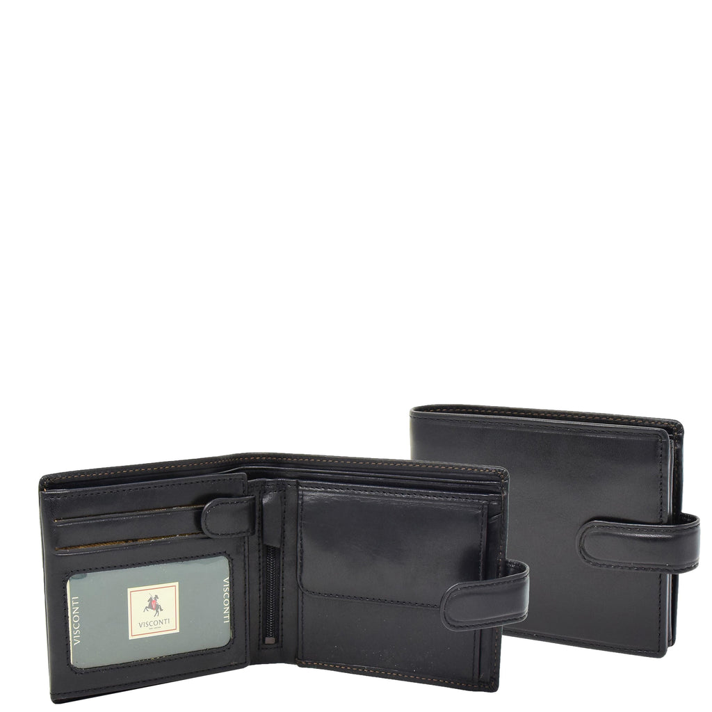Mens Buckle Closure Leather Wallet Hamburg Black