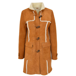 Womens Sheepskin Duffle Coat 3/4 Length Parka Beth Tan White 2