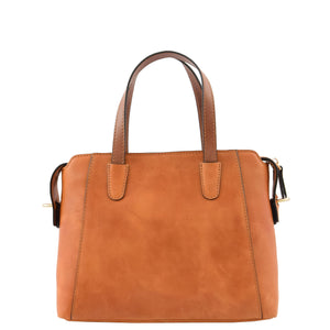 Womens Leather Small Tote Cross Body Bag Elsie Tan 1