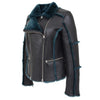 Womens Sheepskin Aviator Pilot Jacket Valerie Black Green 4