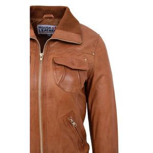 Womens Leather Classic Bomber Jacket Motto Tan 6