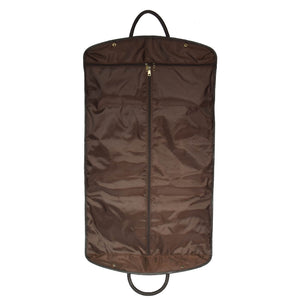leather garment bags in brown
