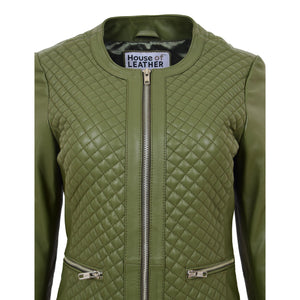 Womens Leather Collarless Jacket with Quilt Design Joan Olive Green 6