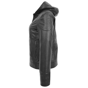 Womens Leather Detachable Hooded Coat Brooke Black 5