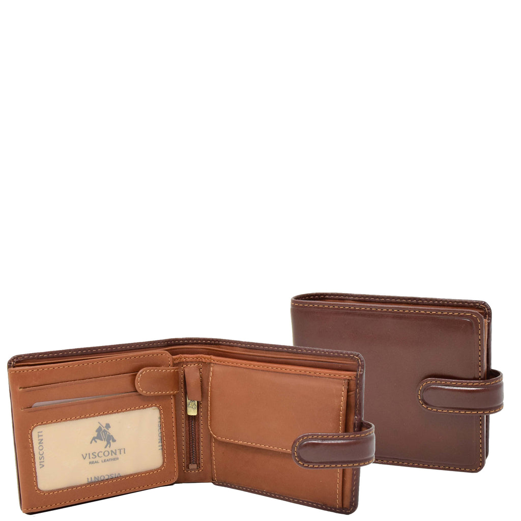 Mens Premium Leather Two Tone Wallet Hobart Brown
