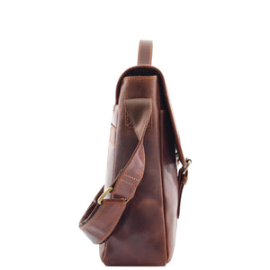 Mens Leather Cross Body Flap Over Briefcase Marland Brown 3
