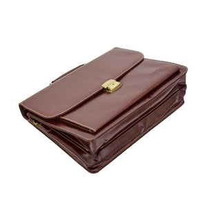 Mens Faux Leather Flap Over Briefcase Windsor Brown 5