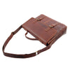 Mens Leather Cross Body Flap Over Briefcase Marland Brown 4