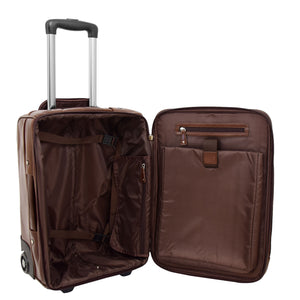 Exclusive Leather Cabin Size Suitcase Kingston Brown 5