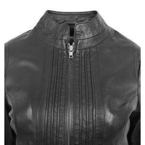 Womens Leather Casual Standing Collar Jacket Ivy Black 6