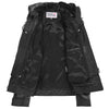 Womens Leather Detachable Hooded Coat Brooke Black 6