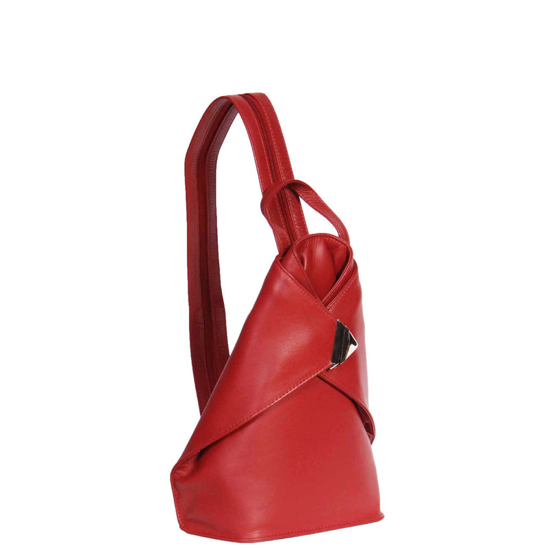 ladies red leather backpack