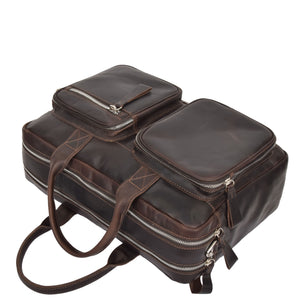leather bag with outside pockets