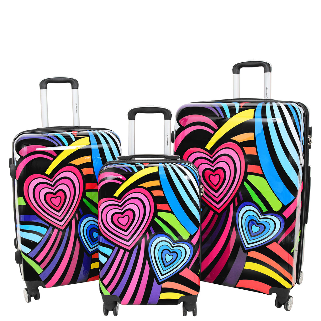 Four Wheels Multi Hearts Printed Suitcase Cosmos Black