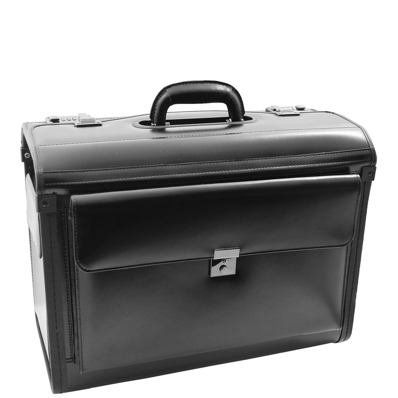 Leather Doctors Pilot Case Without Wheels Beesands Black