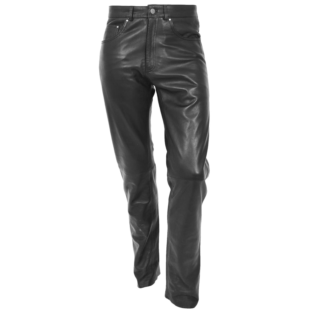 Mens Leather Trousers Straight Leg Classic Casual Jeans Black
