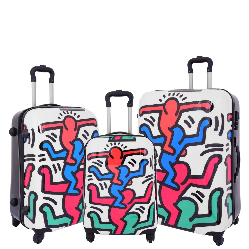 Four Wheels Stick Men Printed Suitcase H823 White
