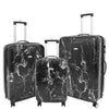 Four Wheels Spinner Suitcase Marble Print Black