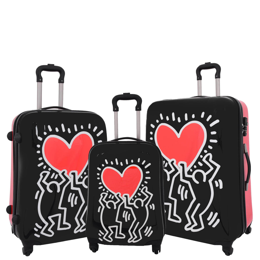 Four Wheels Big Heart Shape Printed Suitcase H820 Black