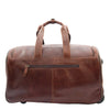 Real Leather Wheeled Holdall Duffle Bag Combrew Brown Back