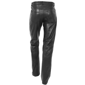 Mens Leather Trousers Straight Leg Classic Casual Jeans Black 1