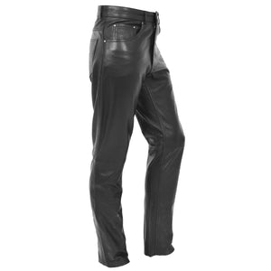 Mens Leather Trousers Straight Leg Classic Casual Jeans Black 2