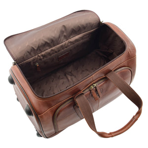 Real Leather Wheeled Holdall Duffle Bag Combrew Brown Open