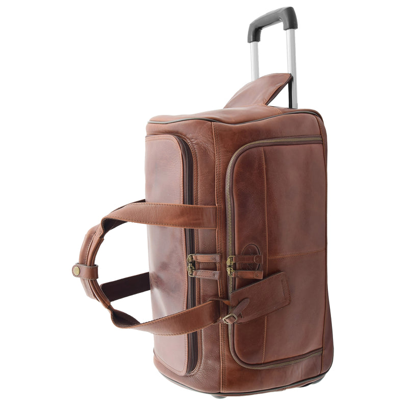 Real Leather Wheeled Holdall Duffle Bag Combrew Brown Side