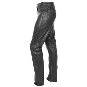 Mens Leather Trousers Straight Leg Classic Casual Jeans Black 4