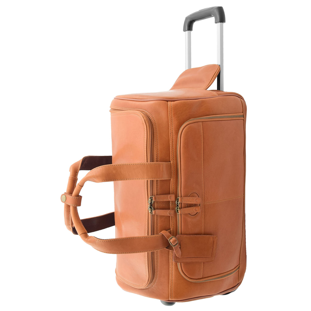 Real Leather Wheeled Holdall Duffle Bag Combrew Tan