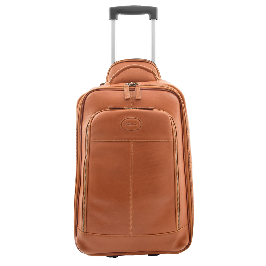 Real Leather Cabin Suitcase Wheeled Trolley Newton Tan