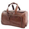 Real Leather Wheeled Holdall Duffle Bag Combrew Brown Front 2