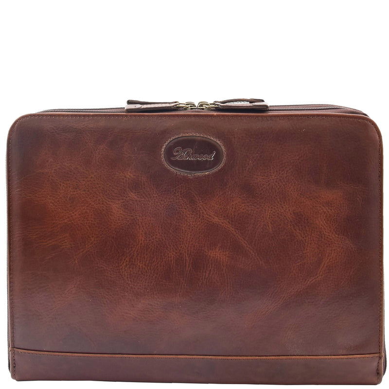 Real Leather Portfolio Case A4 Document Holder Cookbury Brown