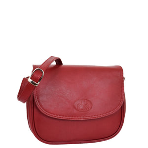Womens Leather Cross Body Flap over Bag Athena Red