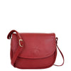 Womens Leather Cross Body Flap over Bag Athena Red 2