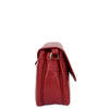 Womens Leather Cross Body Flap over Bag Athena Red 3