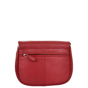 Womens Leather Cross Body Flap over Bag Athena Red 1