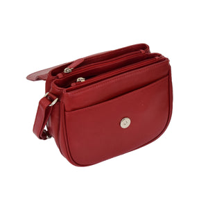 Womens Leather Cross Body Flap over Bag Athena Red 5