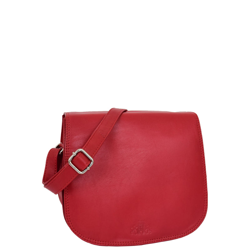 Womens Leather Saddle Shape Cross Body Bag Sadie Red 5