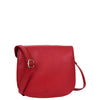 Womens Leather Saddle Shape Cross Body Bag Sadie Red 2