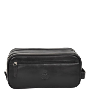black leather toiletry kit